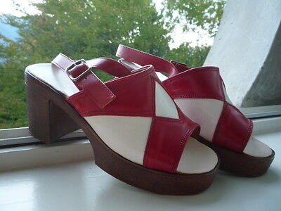 Chaussures VINTAGE pin-up rouge & blanc 36 - Red & white platform shoes *kawaii*
