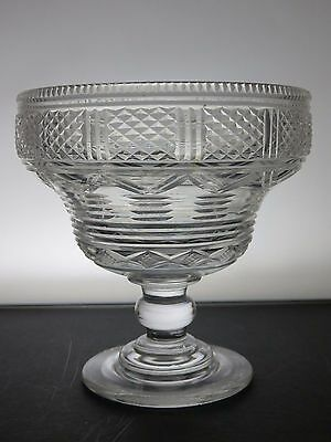 Antique Hand Designed Cut Glass Lead Crystal Footed Bowl