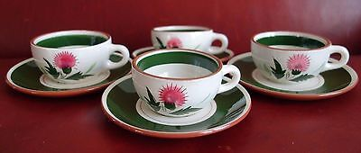4 Stangl Pottery Tea Coffee Cup Saucer Set Thistle Pattern Excellent Condition