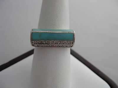 Estate Sterling Silver Turquoise and CZ Square Domed Ring Size 7.75
