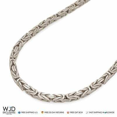 """925 Italy Sterling Silver High Polish 4mm Boxed Byzantine Chain Necklace 28"""""""