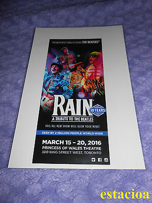 Rain: A Tribute to The Beatles Original Broadway Flyer, NEW, Princess of Wales