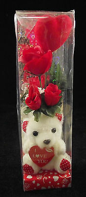 "4"" Valentine White Teddy Bear W/ I Love You Heart Faux Red Rose Plastic Case"