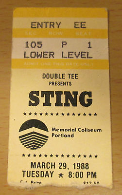 1988 Sting Portland Concert Ticket Stub The Police Nothing Like The Sun Tour