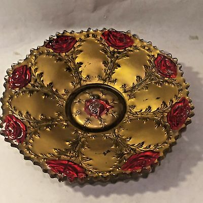 """Vtg 10.5"""" GOOFUS GLASS ROSE Cake Plate 1900s Hand Painted American Red & Gold"""