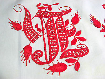 Antique Turkey Redwork Embroidery Pillow Cover Monogram Brodeire Anglaise Lace