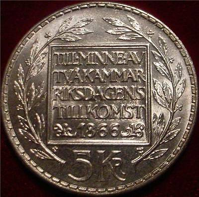 Beautiful Large Silver Crown 1966 5 Kronor Sweden 100Th Anniversary Constitution