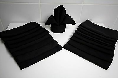30 Black Restaurant Dinner Cloth Linen Napkins 20X20