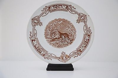 "19th Century Victorian Antique Thomas Booth & Son ""Madras"" Ironstone Lion Plates"