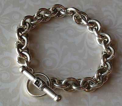 Sterling Silver  Barry Kieselstein Cord Toggle Rollo Link Bracelet  41.5 Grams