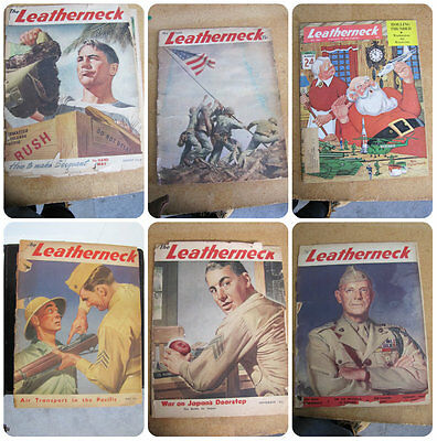 The LEATHERNECK US Marine's 1940's WW II Vintage Magazine 6 Collectible Issues