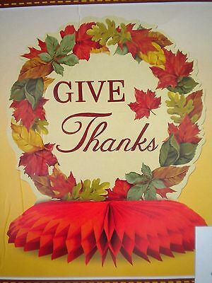 """AUTUMN/FALL/THANKSGIVING """"GIVE THANKS"""" HONEYCOMB CENTERPIECE ~10"""" Tall"""