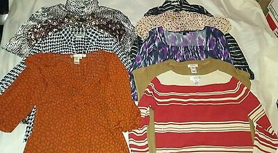 Lot of of 9 Career Tops Business Blouses for Work Women's Sz L