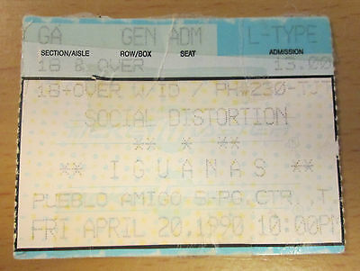 1990 Social Distortion Tijuana Concert Ticket Stub Ball And Chain Mike Ness Punk