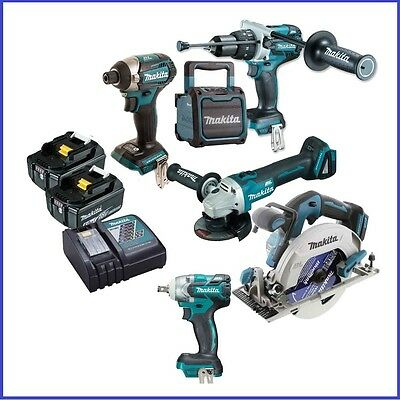 Makita 18V 6 Piece Brushless Combo kIT WITH 1/2'' WRENCH, IMPACT DRIVER ,GRINDER