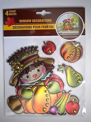 """4 Autumn/fall/thanksgiving 3D """"cute Scarecrow"""" Peel 'n Stick Window Decorations"""
