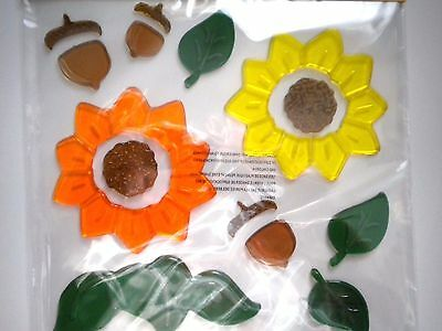 14 Colourful Autumn/fall/thanksgiving Gel Cling Window Decorations