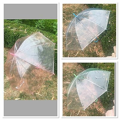 Brand New Wedding Party Transparent Clear Umbrella Pink Blue Green
