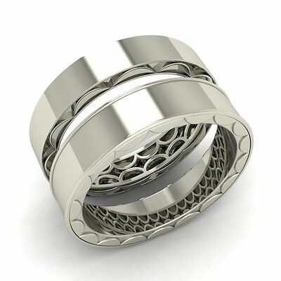 Solid 14k White Gold Wedding Couple Matching Band / Ring