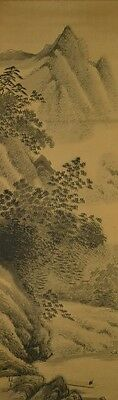 Hanging Scroll Landscape Japanese Painting Japan Asian Art Antique Picture a129