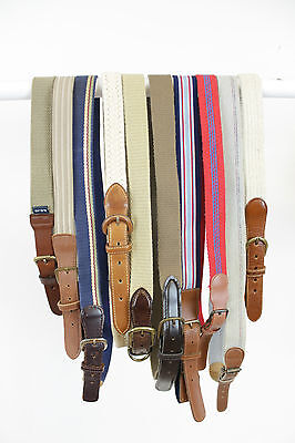 10 X Vintage Woven Canvas Fabric Belts Job Lot. Mix Of Sizes & Styles.