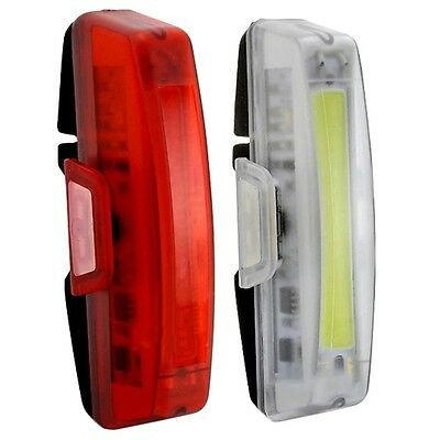 USB Rechargeable LED Bike Bicycle Cycling Front Rear Tail Warning Light I6