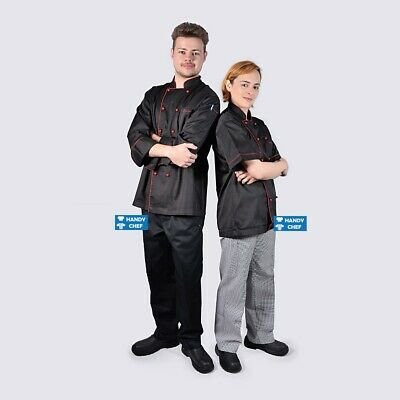 Unisex Chef Jackets Black with Red Piping - See Handy Chef Store for Chef pants