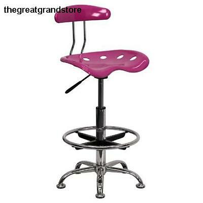 Furniture Vibrant Pink & Chrome Drafting Stool w/ Tractor Seat Polymer Molded