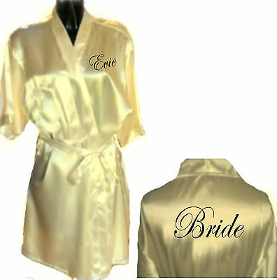 Personalised CREAM Wedding Robe / Dressing Gown - Bride Bridesmaid - Small Size