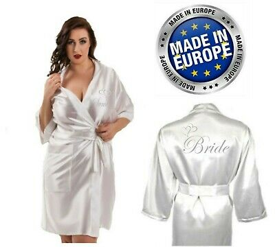 Personalised Wedding Robe Dressing Gown Silver Heart in Satin Bridal Children's