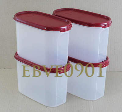 Tupperware Modular Mates Oval II (4 pieces) 1.1 Litre (Cranberry) FREE Delivery