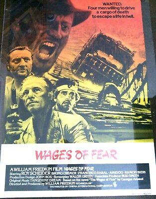 Wagers of Fear Original Film Movie Poster Roy Scheider Theatrical Release Pic