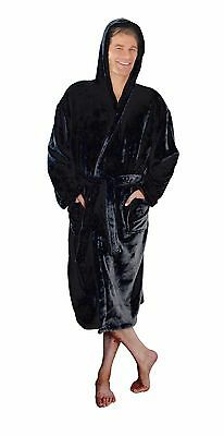 Black Mens Hooded Soft Fleece Thermal Super Soft Dressing Gown Robe With Hood