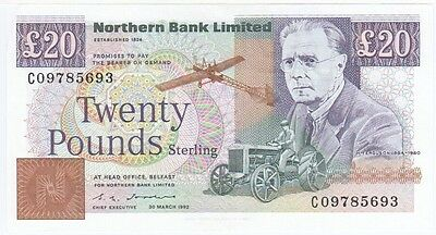 Northern Bank £20 Dated 1992, Prefix C, Uncirculated Condition