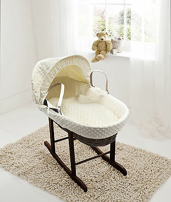 Cream Dimple Dark Wicker Moses Basket on Deluxe Rocking Walnut Stand