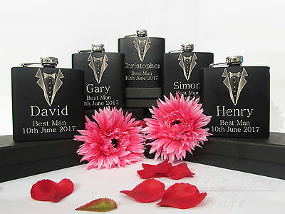 6oz black personalised engraved Hip Flask.Wedding groom gift with box choice bf5