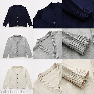 Unisex Boy Girl Student School Uniform Solid Knitted Sweater Cardigan Tops Coat