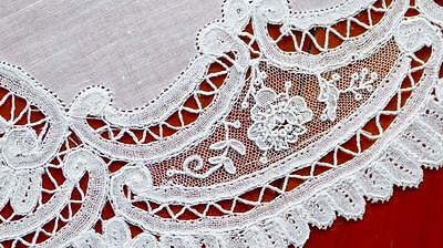 T31 Precious Handmade Antique Belgian Point De Gaze / Duchesse Lace Tablecloth