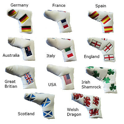 NATIONAL FLAG PUTTER COVERS England Scotland Wales Ireland Spain Germany GB ETC