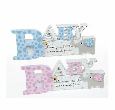 Elly Elephant Nursery Baby Mantel Sign Baby Choice of Pink or Blue