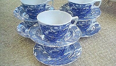 Ridgway meadowsweet blue & white cups & saucers x 6