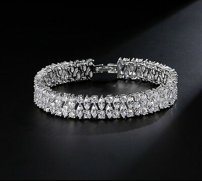 7 CT Tennis Bracelet with Beautiful Diamond in White Gold Toned 18k 7.5 inches