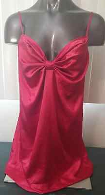 Victorias Secret lingerie sissy negligee babydoll nighty red silky polyester L