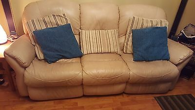 Cream leather reclining sofas 3 and 2 seater