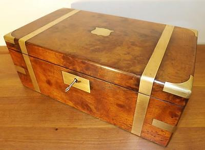 Antique Large Victorian Campaign Walnut And Brass Writing Slope Box. 1860-1880's