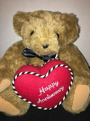 """Vermont Teddy Bear Happy Anniversary Heart Pillow Black Bow Tie Jointed 15"""""""