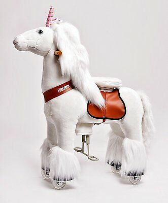 Pony Cycle Ride-On Pony Unicorn White Riding Steering Outdoor Play Moving New