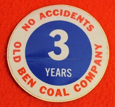 Old Ben Coal Company 3 Year No Accidents Coal Miner Decal