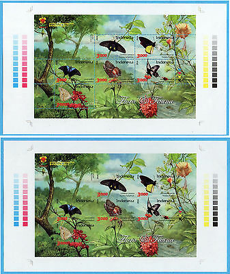 Indonesia 2016 Butterfly Ovpt Bandung 2017 2 Ms Perf & Imperf Sheetlet Stamps
