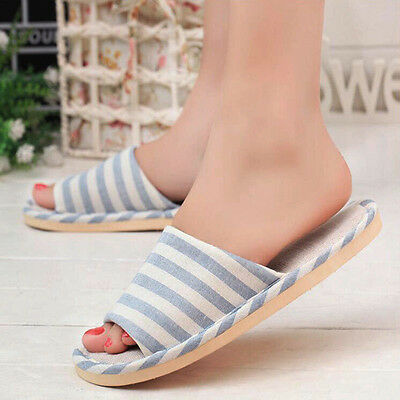 Womens Men Slippers Open Toe Pinstripe Indoor Home Soft Shoes Comfy Linen Scuffs